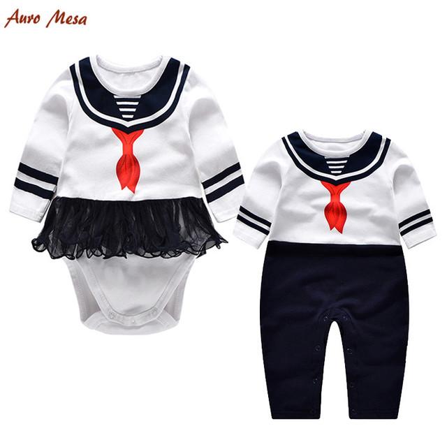 Novo Estilo Preppy Outono Macacão de Bebê Macacão Vermelho Lenço Branco Cheio Nascido Shortie Newborn Costume