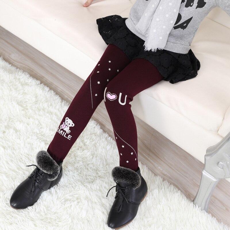 New 2017 Winter Fur Girls Leggings Children Clothing Pants Cotton Velvet Elastic Waist Warm Legging