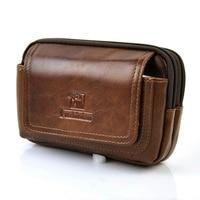Men Vintage Genuine Leather Fanny Belt Loop Bag Retro Waist Pack Cellphone Mobile Case Classic Presbyopic