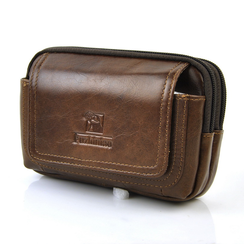Men Vintage Genuine Leather Fanny Belt Loop Bag Retro Waist Pack Cellphone Mobile Case Classic Presbyopic Glasses 6 Plus Purse