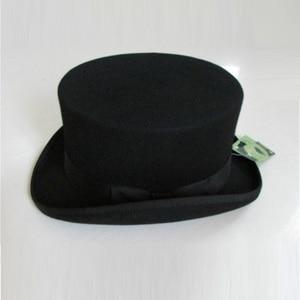 Image 2 - בריטי סגנון גברים נשים צמר פדורה Steampunk מגבעת צילינדר קוסם קסם כובע טוב חבילה צמר מגבעות לבד כובע 12cm גבוהה B 8114