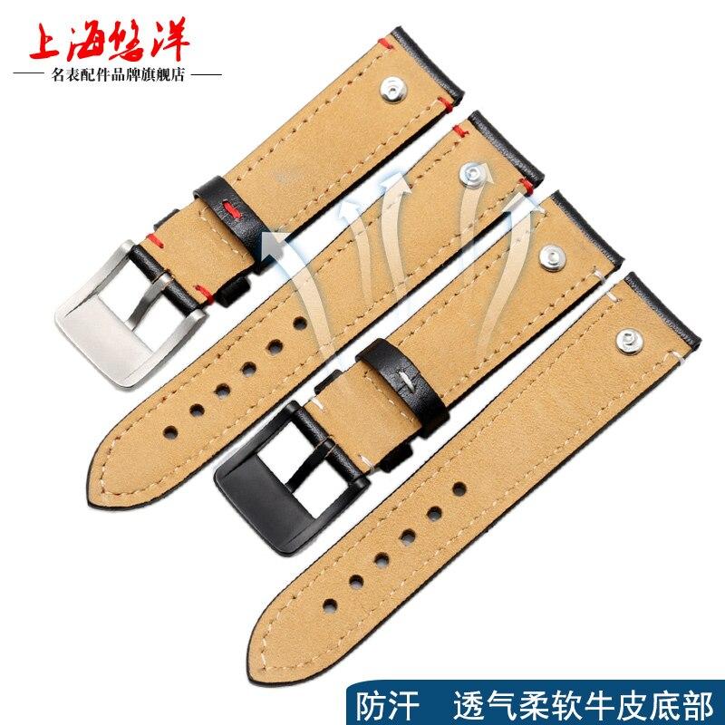 UYOGN nouveau bracelet en cuir véritable GM grande marque montres Corolla rivets sangle 20 21 22mm bleu foncé - 4