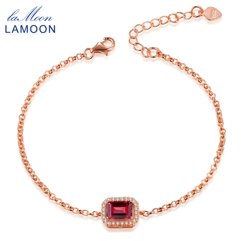 LAMOON - 5x7mm 1,1ct přírodní obdélníkový červený granát 925 mincovní stříbro šperky řetízek náramek S925 LMHI001