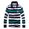 2017 de calidad Superior del 100 de algodón de manga Larga camisa de POLO hombres de Tiburón tire homme marca Casual Slim Fit camisa camisas de marca famosas