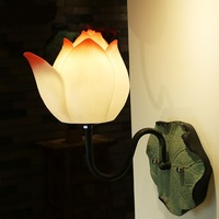 Modern personality classical wall lamp living room bedroom bedside decorative lamp new Chinese art lotus wall lamp, M.