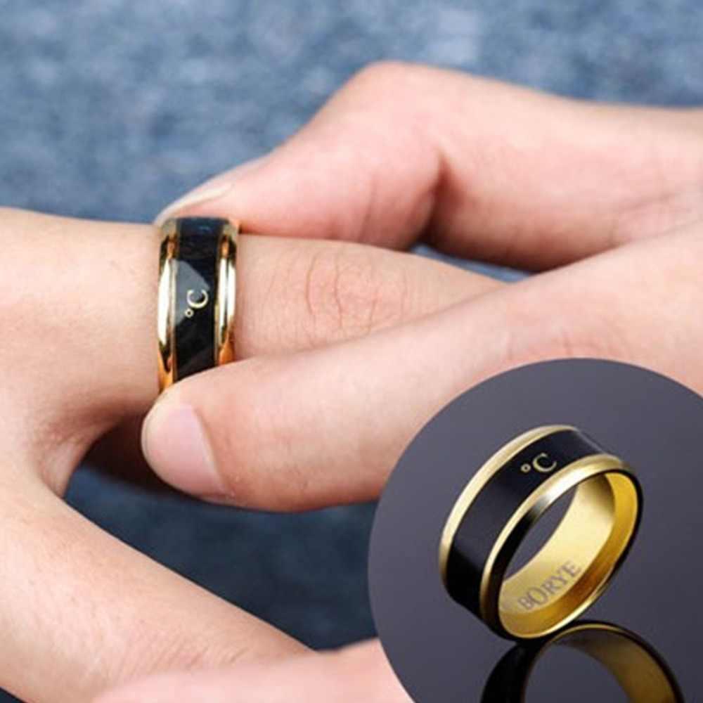Wielofunkcyjny wodoodporny czujnik temperatury inteligentny inteligentny pierścień palec nosić zmiana koloru pierścień temperatury #290463