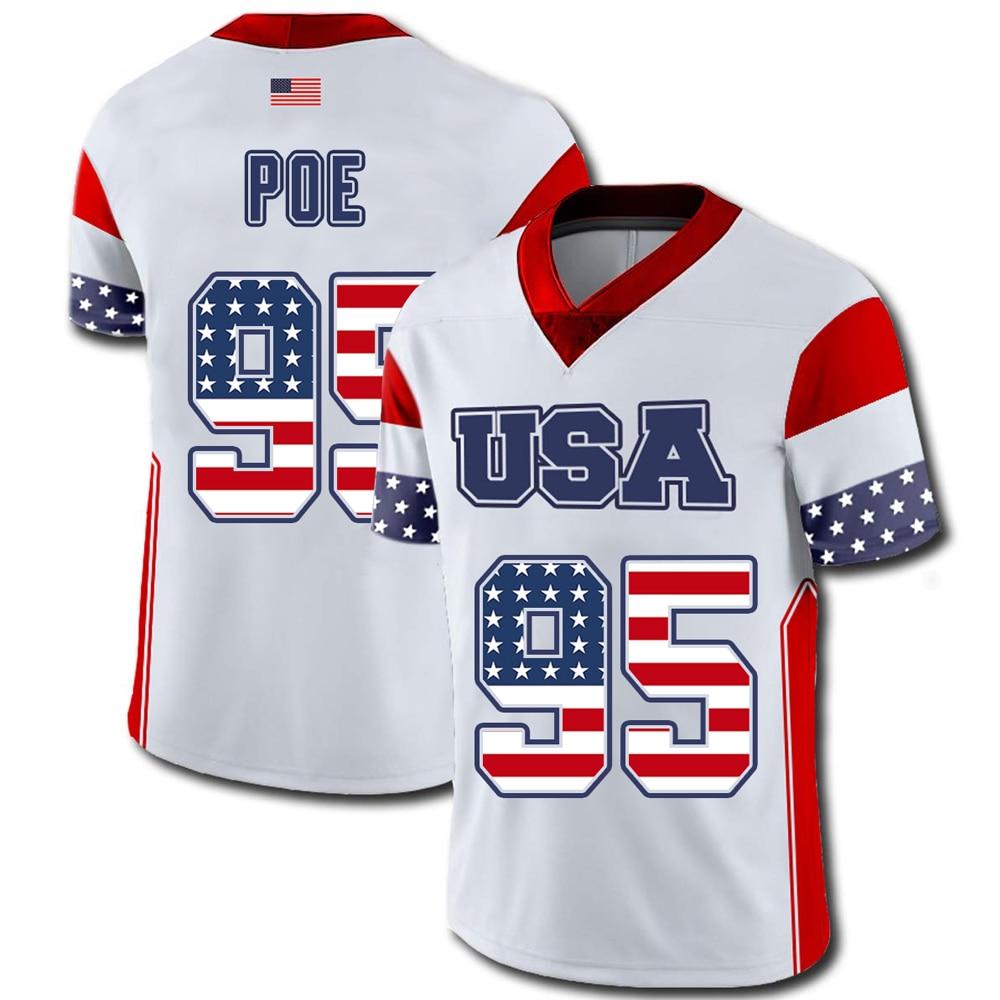 Mens American Football Usa Flag Team Jersey 95 Dontari Poe