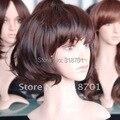 Новый женская мода девушка милая темно-коричневый большой головы полные парики Короткие вьющиеся волосы парик