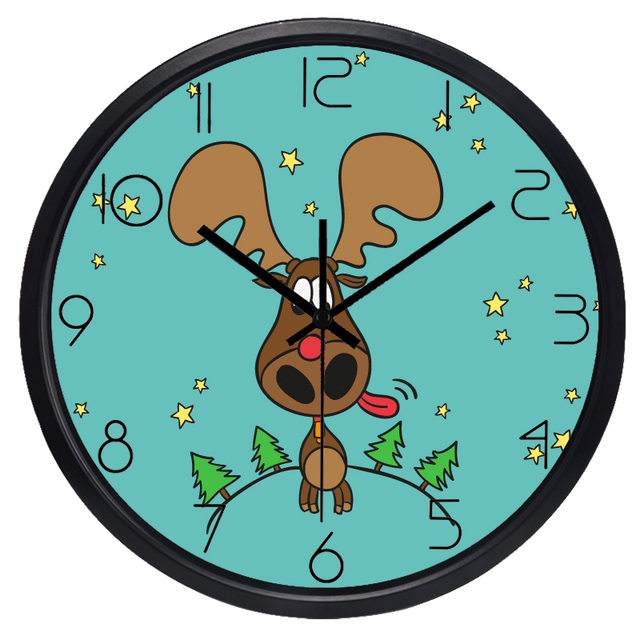 Funny Deer Wall Clock For Kids Room, Non Ticking Sound