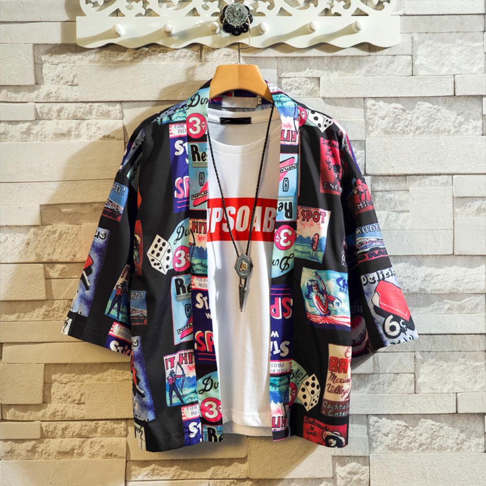 ZACOO Men Women Loose Printing Sunscreen Three Quarter Sleeve Kimono Cardigan Shirt