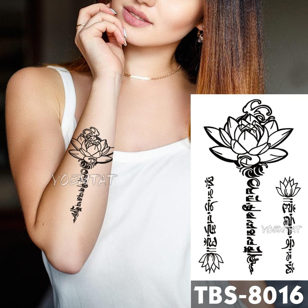 12x19cm Waterproof Temporary Tattoos Lotus Text Flash Tattoo Sticker