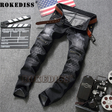 ripped jeans for men 2017 Spring and Autumn New products fashion Slim zipper Straight pants Elasticity warm trousers C175
