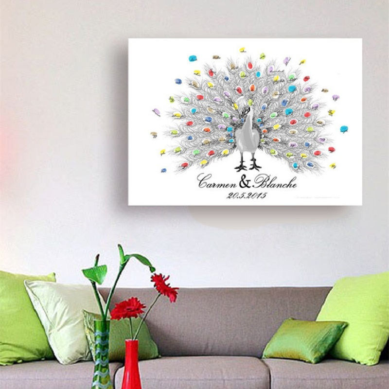 Personality Customized Peacock Canvas Wedding Babyshower Graduation Fingerprint Tree Signature Guest Book Painting With Ink Pad