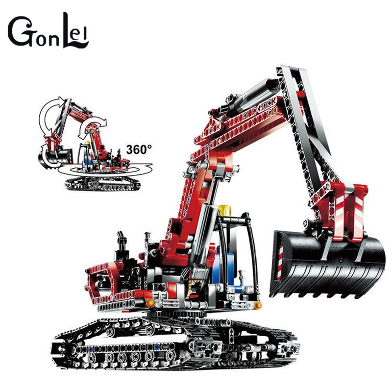 (GonLeI)Techinic 2in1 New Series Excavator Loader 20025 DIY Model Building Kit Blocks Gifts Sets Boys Toys Compatible With