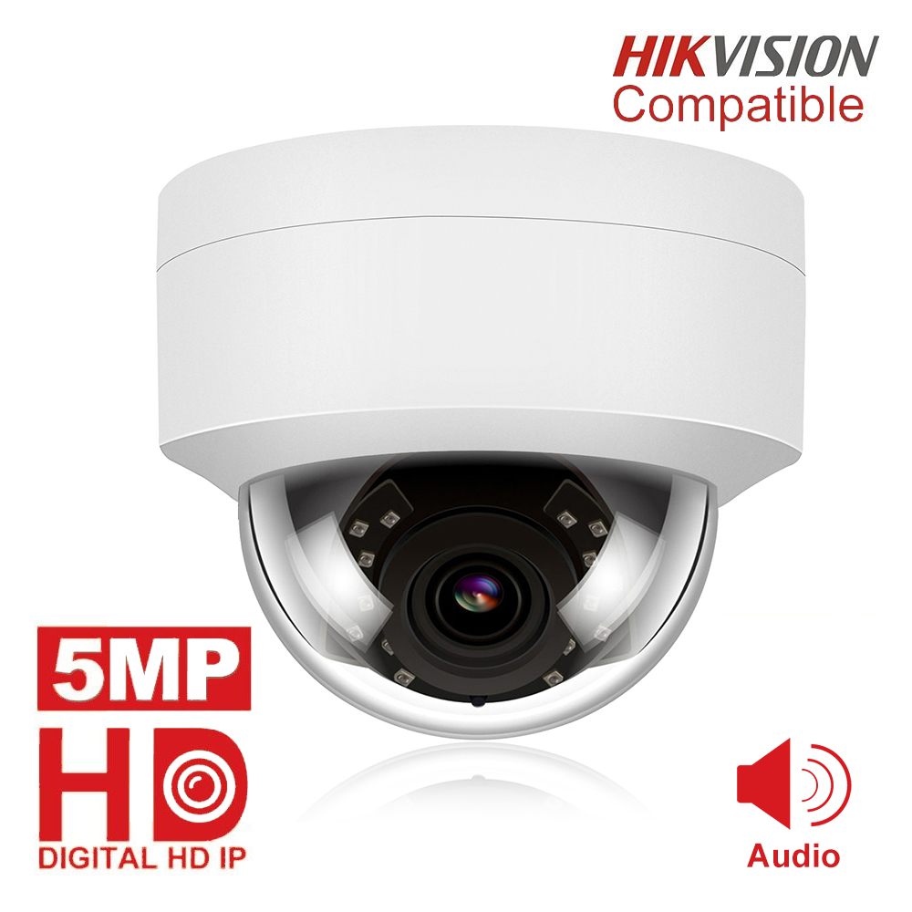 5MP POE IP Camera With Microphone, Audio, IP Security Dome Camera Outdoor  IP66 Indoor Outdoor ONVIF Compatible Hikvision