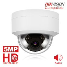 5MP POE IP Camera with Microphone, Audio, Security Dome outdoor  IP66 Indoor Outdoor ONVIF Compatible Hikvision