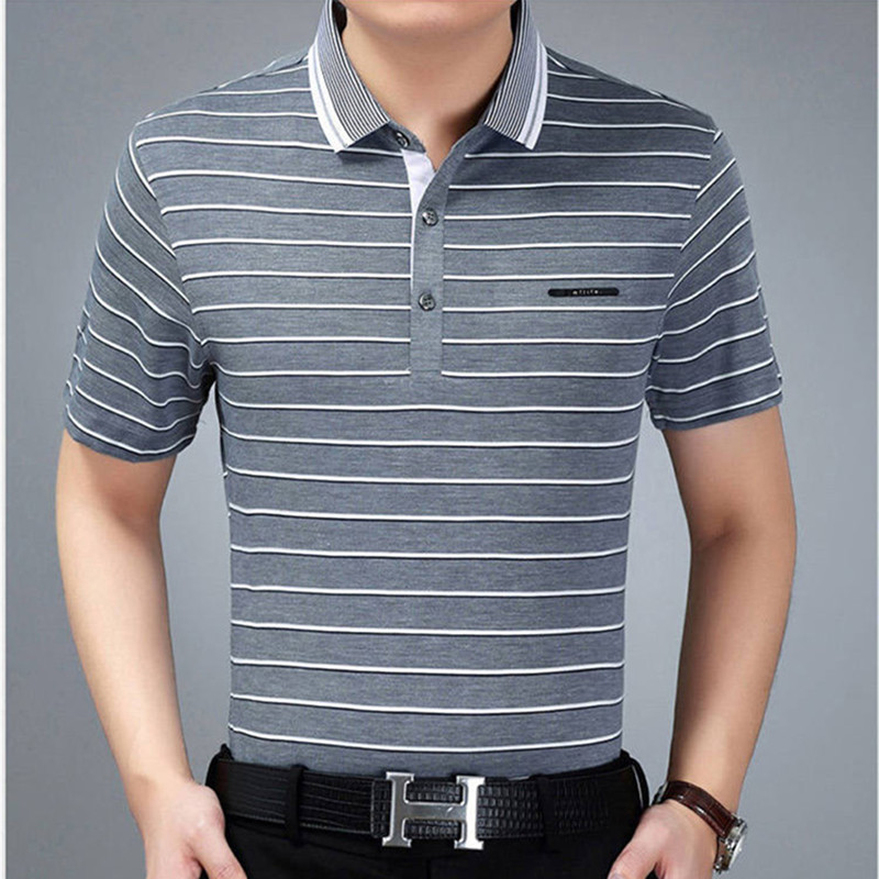 Classic Stripe Knit Cotton Short-Sleeve Men Polo Shirt Slim Soft Breathable Blue Gray White Male Summer Casual Shirts Size M-3XL