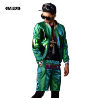 Men Green 2 Sets (jacket+shorts) Male Fashion Coat Casual Hip Hop Baseball Jacket Stage Show Clothing Custom Made Costumes