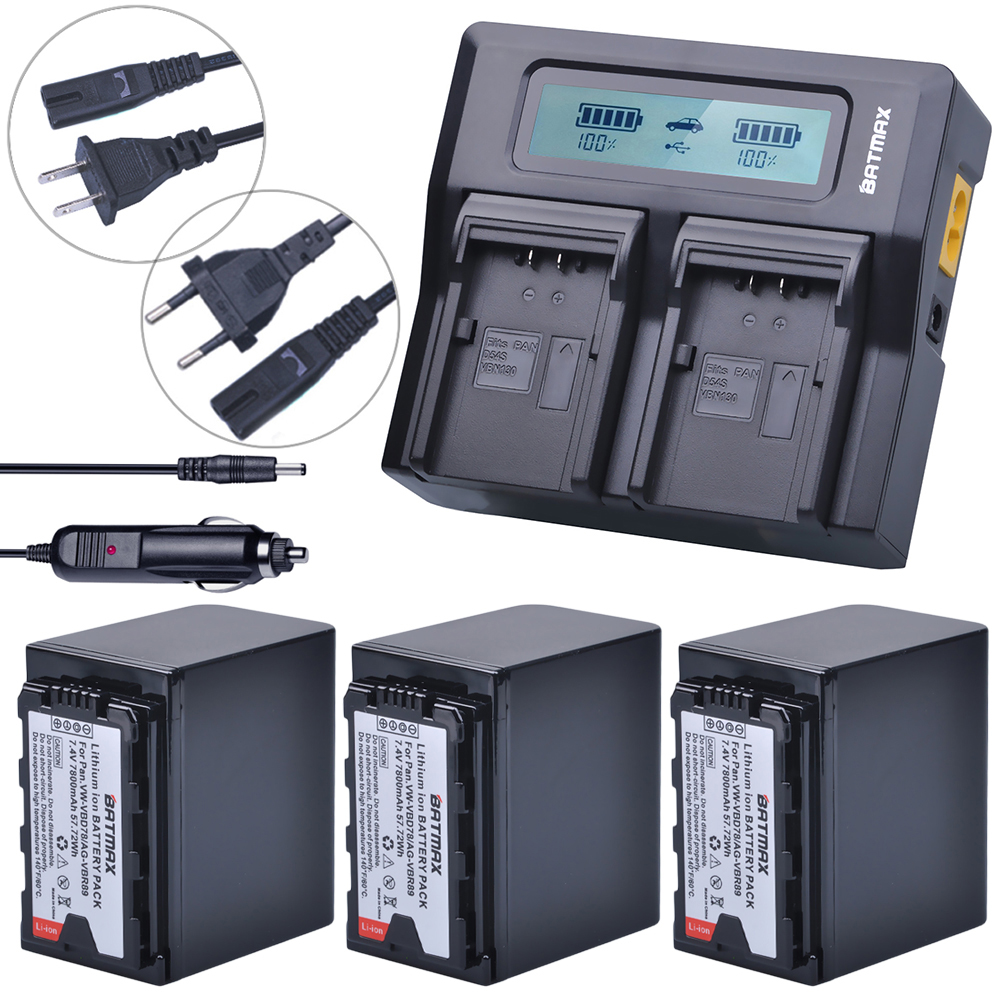 3Pcs 7800mAh VW VBD78 VBD78 Battery + Rapid LCD Dual Charger for Panasonic VBD58 VBD29 AJ HPX260MC HPX265MC PX270 AG FC100 MDH2|Digital Batteries|Consumer Electronics - title=