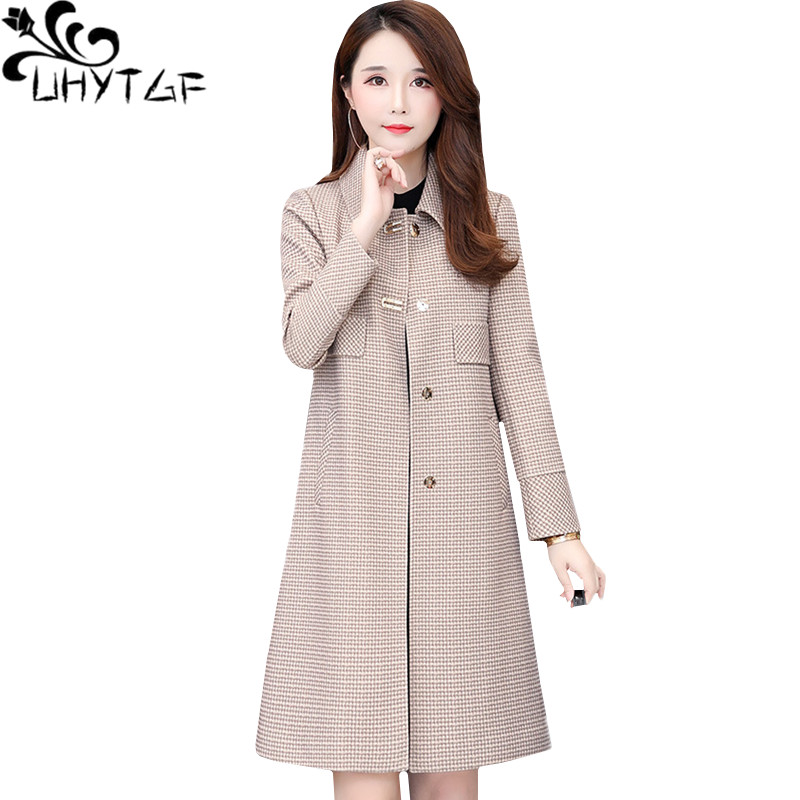 UHYTGF New spring coat Lady Mid-length Loose plus size   trench   coat for women fashion woman Slim elegant trenchcoat outerwear1391