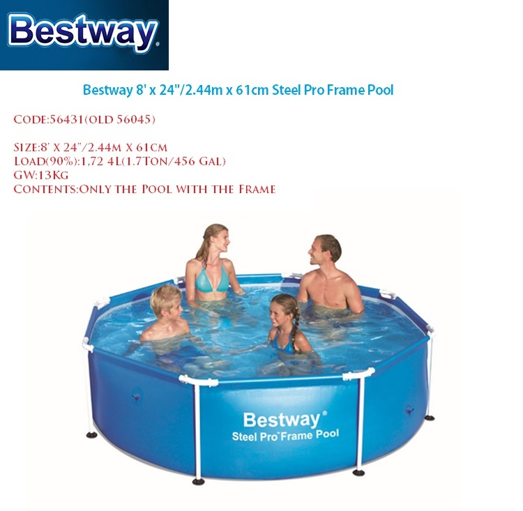 56431 Large Mount Swimming Pool For Adults Kids 8 39 2 39 Outdoor Round Frame Supported
