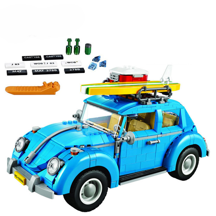 Bela 10566 Create Series Beetle Camping Car City Car Volkswagen Model Building Kit Blocks Bricks Toy Gift With LEPIN 21003 new lepin 21003 series city car beetle model educational building blocks compatible 10252 blue technic children toy gift