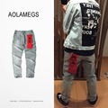 Aolamegs 424 Washed Jeans Men Retro Denim Pants With Holes 2016 New Fashion Hip hop Slim Fit Vintage Trousers Streetwear M-XXL