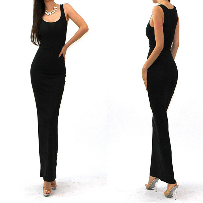 2016 SEXY SOLID TANK BASIC SCOOP NECK RACERBACK RIBBED CASUAL MAXI SUMMER font b DRESS b