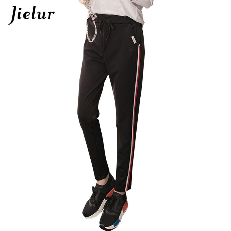 Jielur Autumn Casual Korean Women Pants Striped Fashion Slim Hip Hop Harem Pants Black Long Trousers Female Classic Capris S-2XL