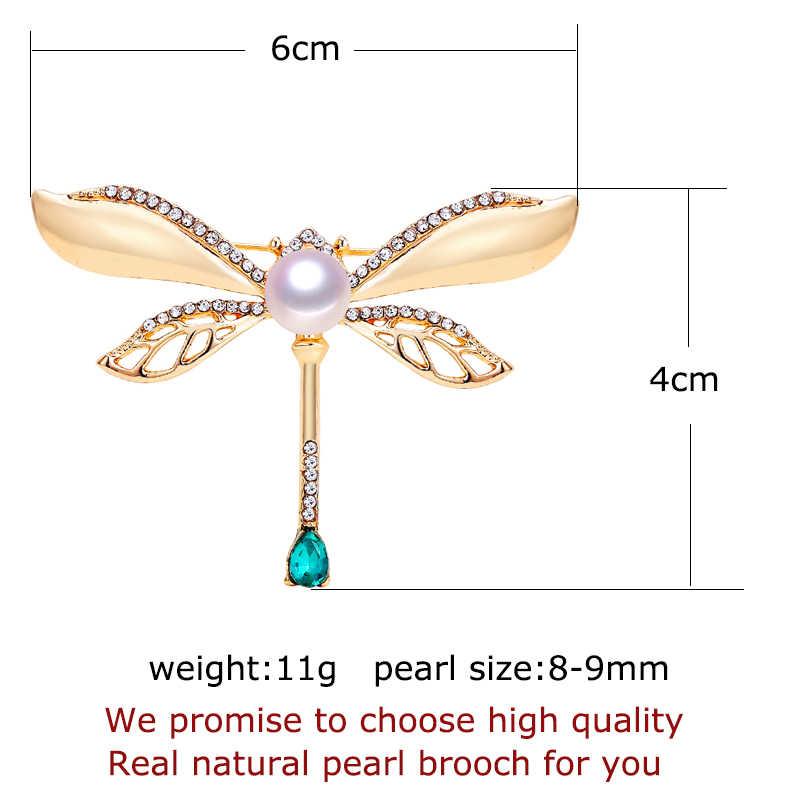 Shdiyayun 2019 Baru Pearl Bros Vintage Dragonfly Bros untuk Wanita Emas Pin Bros Mutiara Air Tawar Alami Perhiasan Dekorasi