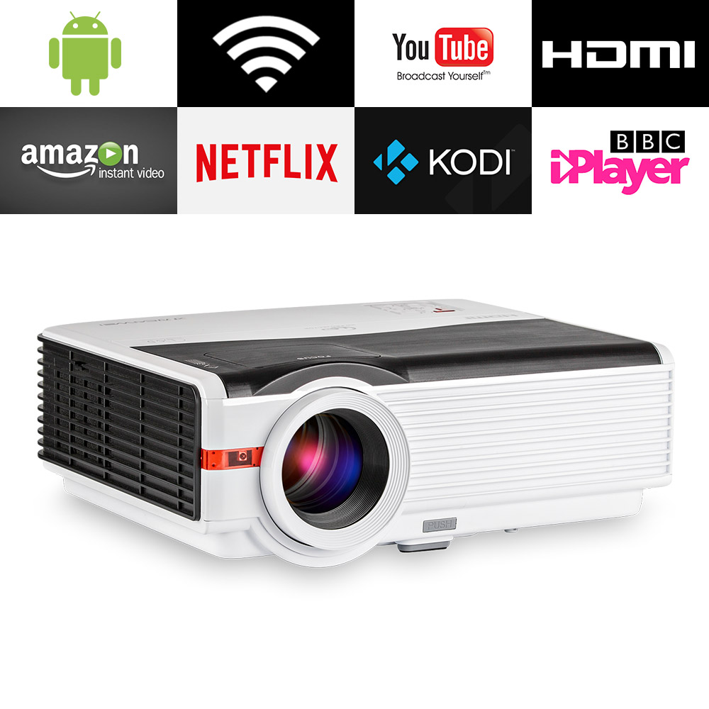 CAIWEI LCD HD 1080P LED Home Projector Watching Movie Video Game Large Projectio