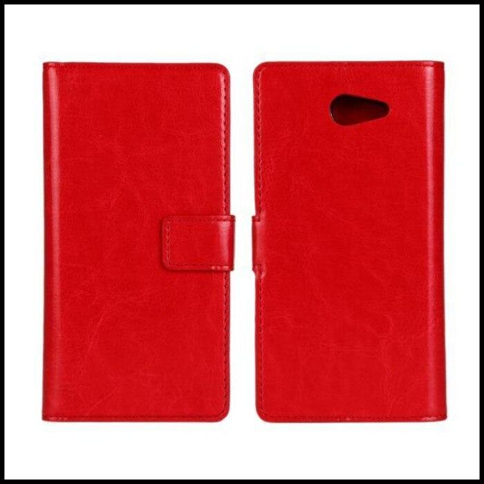Para sony xperia m2 cubierta caja de la carpeta de cuero accesorio del teléfono
