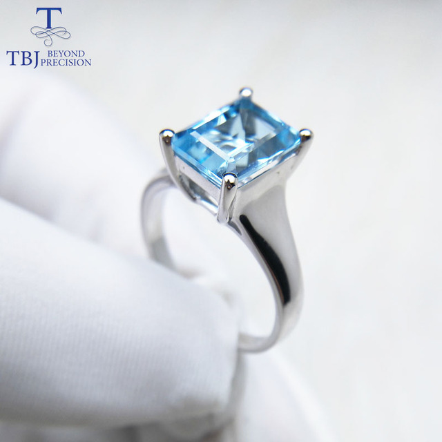 Tbj ,Simple and elegant sky blue topaz oct 7*9mm 2ct Ring in 925 sterling silver fine jewelry for women with jewelry box