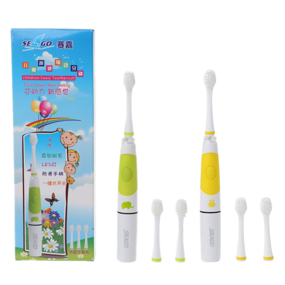 SEAGO Sonic Electric Toothbrush Kids Battery Tooth Brush LED Indicator 3 Heads image