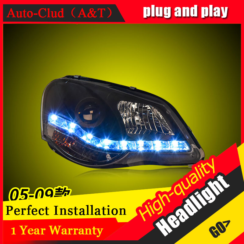 Auto Clud Car Styling For VW polo headlights 2005-2009 For polo head lamp led DRL front Bi-Xenon Lens Double Beam HID KIT auto clud style led head lamp for benz w163 ml320 ml280 ml350 ml430 led headlights signal led drl hid bi xenon lens low beam