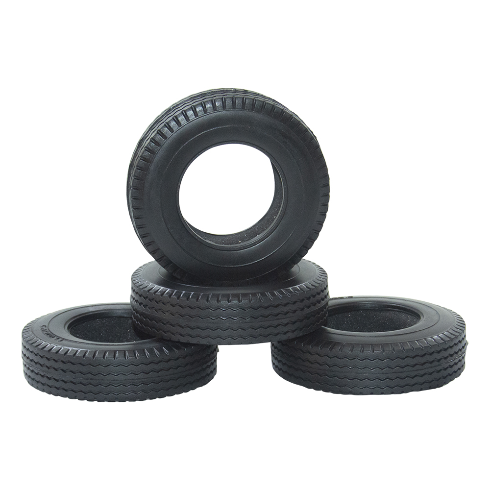 ARC0082 4PCS <font><b>RC</b></font> Car Rubber Trailer Tires For 1:14 <font><b>Tamiya</b></font> Tractor <font><b>Truck</b></font> <font><b>RC</b></font> Climbing Trailer <font><b>1/14</b></font> Car Component Pull Wheel Cover image