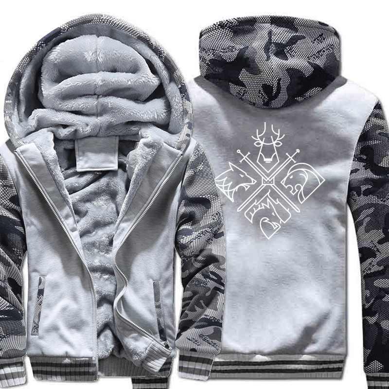 Juego de tronos para hombre Thicken Hoodies Camouflage sleeve chaquetas Moda hombre's Sweatshirts Otoño Invierno Warm Mens Casual Coats