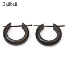Balibali vintage női fülbevaló fából készült kerek fülbevaló nők részére Férfiak kézzel készített egyszerű Bijoux barátságos ékszerek borostyán