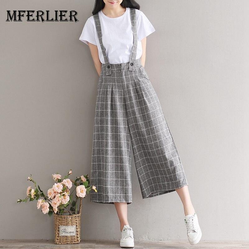 Mferlier Mori Girl Summer Retro Plaid High Waist Pants Front Pleated Zipper Adjustable Strap Women Wide Leg Pants