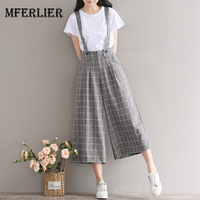 Mferlier Mori Girl Summer Retro Plaid High Waist   Pants   Front Pleated Zipper Adjustable Strap Women   Wide     Leg     Pants