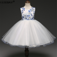 Special Design Embroidery Flowers Evening Party Princess Dress For Girl Costume Chiffon Gown Children Robe Fille