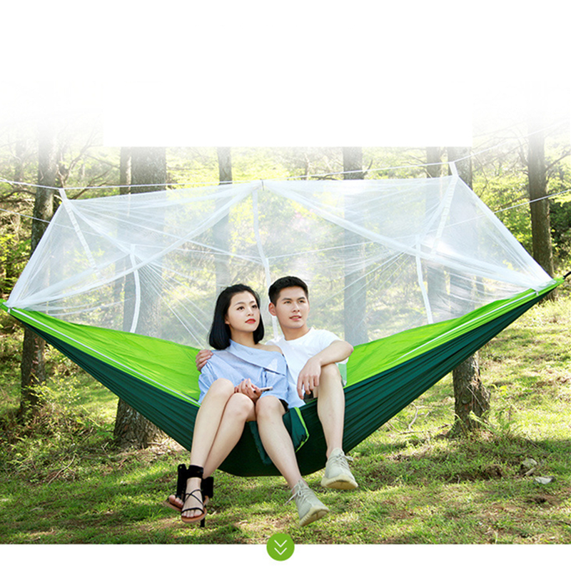 Image 2 - VILEAD 260*140 cm Camping Hammock with Mosquito Portable Stable High Strength Cavans  Hanging Bed Sleeping Hiking Camping Cot-in Camping Cots from Sports & Entertainment
