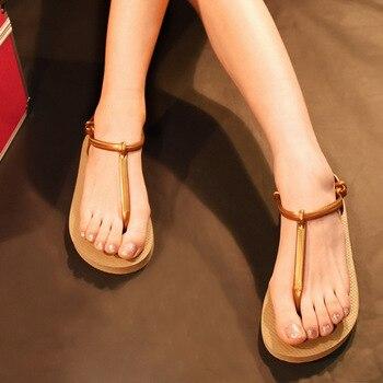 Roman Summer Flat Sandals For Women Bohemia Sandals Black Apricot Sweet Ladies Fashion Shoes T-Strap Non Slip Flip Flops 8H0183 римские сандали