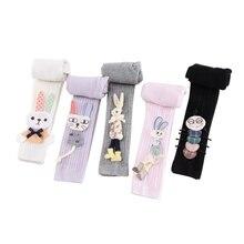 Леггинсы для маленьких девочек милые эластичные теплые штаны с рисунком кролика для новорожденных штаны принцессы