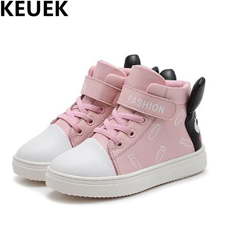 NEW Spring/Autumn Hook & Loop High Top Casual Children Shoes Girls Genuine Leather Shoes Kids Student Sneakers Baby Toddler 044