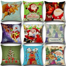 New Year Merry Christmas Man Snowman Cotton Linen Pillow Cushion Cover For Car Home Office Sofa