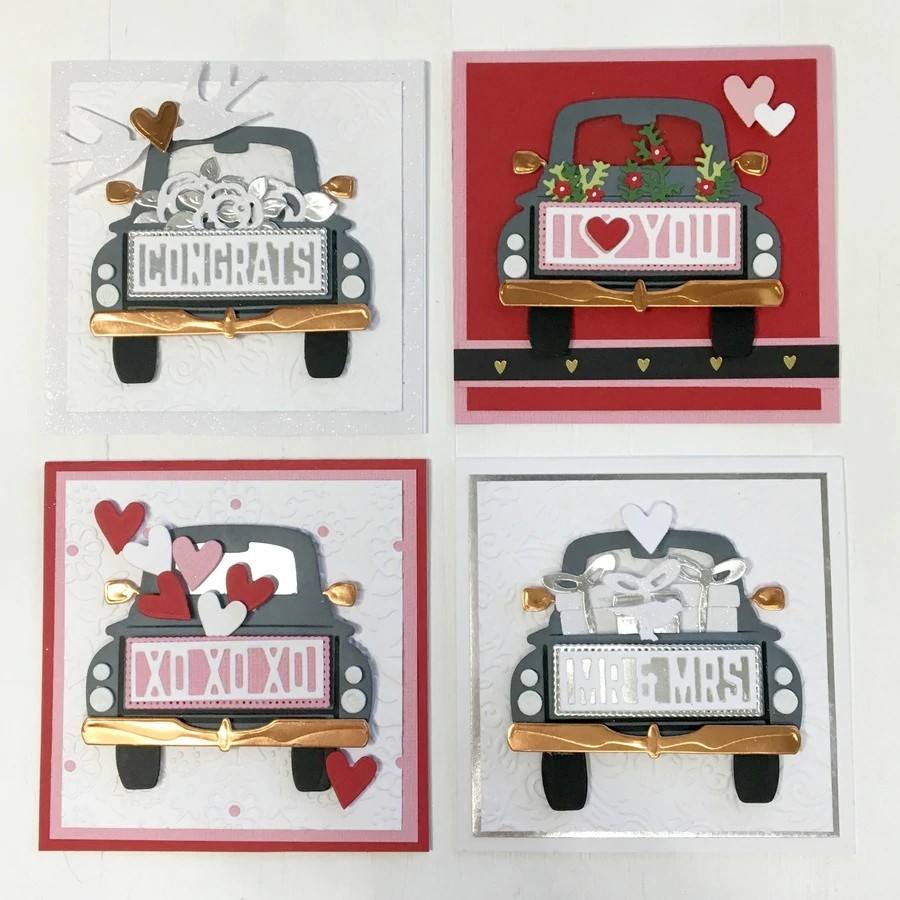 Image 5 - Piggy Craft metal cutting dies cut die mold Car letter frame decoration Scrapbook paper craft knife mould blade punch stencils-in Cutting Dies from Home & Garden