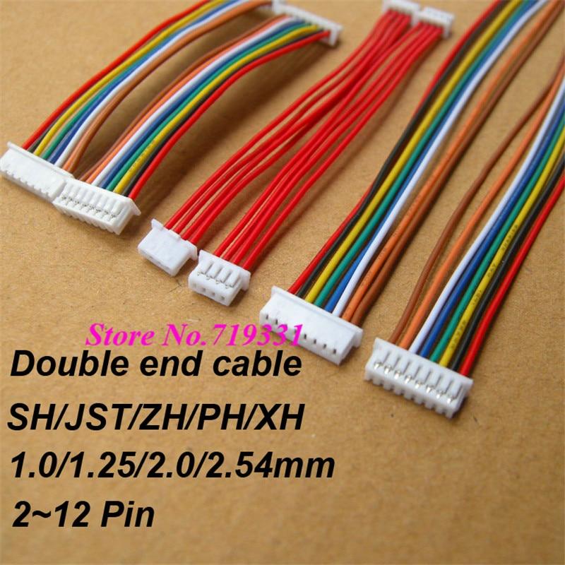 10 pièces JST SH ZH XH PH 1.0mm 1.25mm 1.5mm 2.0mm 2.54mm 2.0mm 2/3/4/5/6/7/8/9/10/11/12- connecteur femelle et femelle avec câble