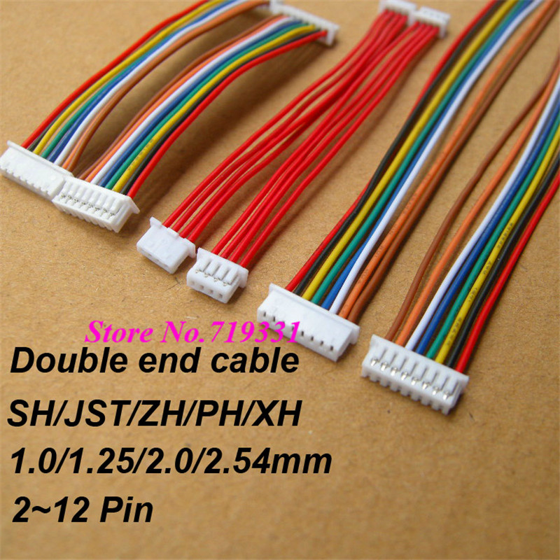 10pcs JST SH ZH XH PH 1.0mm 1.25mm 1.5mm 2.0mm 2.54mm 2.0 2/3/<font><b>4</b></font>/5/6/7/8/9/10/11/12-<font><b>Pin</b></font> Female & female <font><b>Connector</b></font> with <font><b>cable</b></font> image