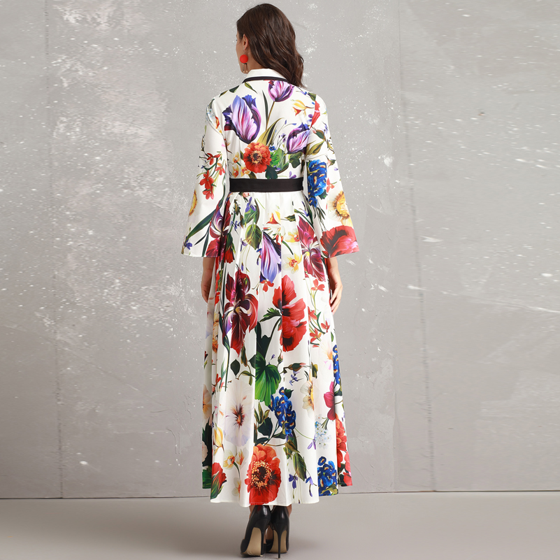 High quality 2019 new designer Fashion runway Maxi dress Women's Long Sleeve Casual Flower Print Elegant Beading Maxi Dress